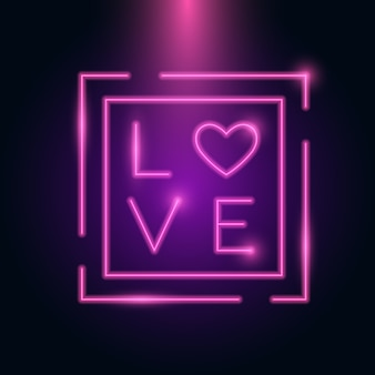 Carta de amor coração neon frame brilho no escuro