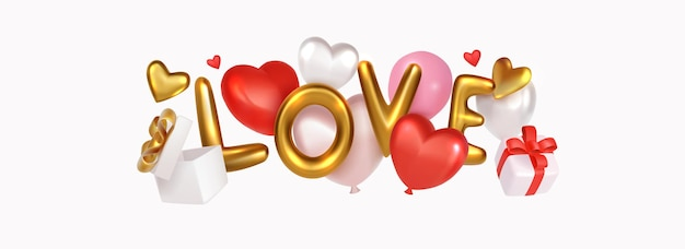 Carta de amor cromada dourada com balões e caixa de presente realista