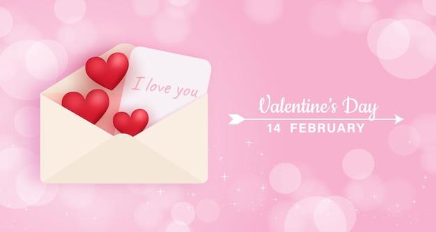 Carta de amor de dia dos namorados e corações.