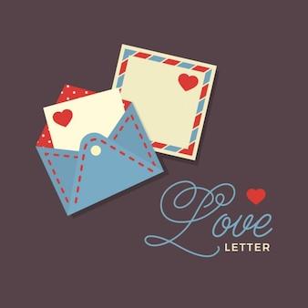 Carta de amor do vetor com tipografia