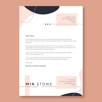 Carta de apresentação abstrata em preto e rosa