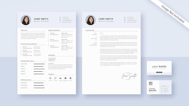 Carta de apresentação do currículo em cor pastel e cartão de visita