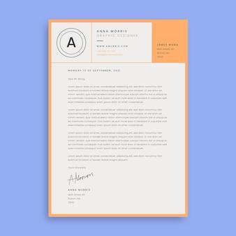 Carta de apresentação do design moderno da grade anna laranja