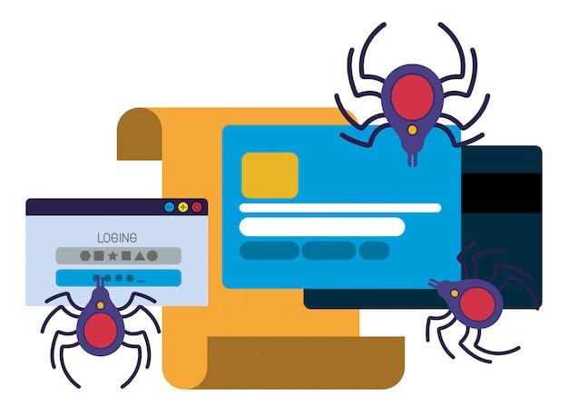 Carta de cartão de crédito com ícones isolados de aranha