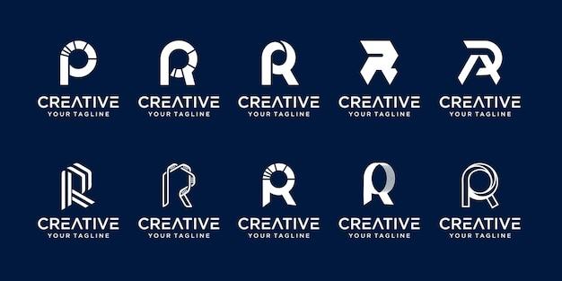 Carta de cobrança r rr logo icon set desig para negócios de moda esportiva automotiva