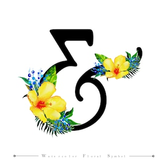 Carta de convite de casamento & fundo floral aquarela