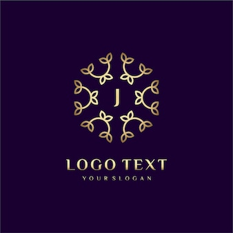 Carta de design de conceito de logotipo de luxo (j) para sua marca com decoração floral