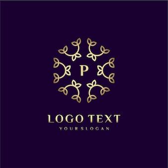 Carta de design de conceito de logotipo de luxo (p) para sua marca com decoração floral