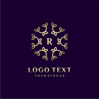 Carta de design de conceito de logotipo de luxo (r) para sua marca com decoração floral