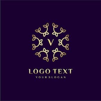 Carta de design de conceito de logotipo de luxo (v) para sua marca com decoração floral