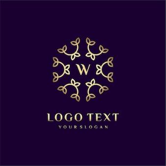 Carta de design de conceito de logotipo de luxo (w) para sua marca com decoração floral