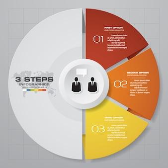 Carta de elemento de infográficos de 3 passos para apresentação.