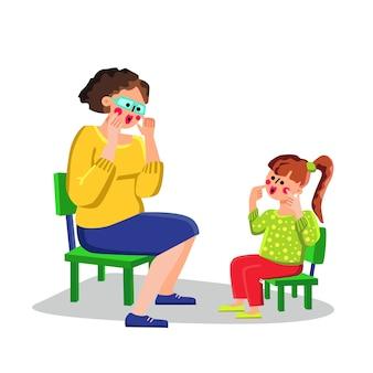 Carta de ensino do terapeuta da fala, menina pequena
