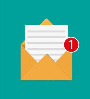 Carta de envelope de papel com contranotificação.