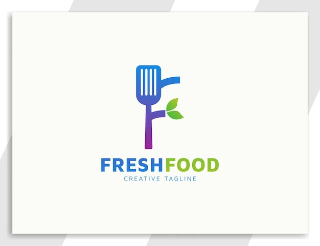 Carta de espátula f modelo de logotipo de restaurante ou comida
