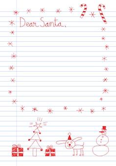 Carta de estilo infantil para o modelo de papai noel com rabiscos de mão desenhada