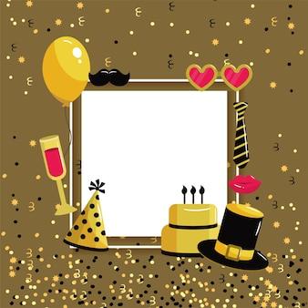 Carta de feliz aniversário com estilo de decoração