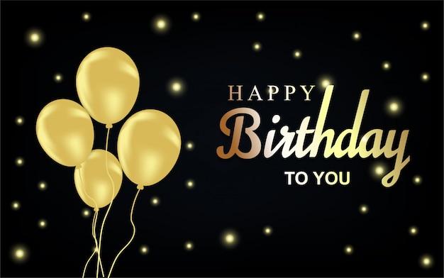 Carta de feliz aniversário ouro com balões