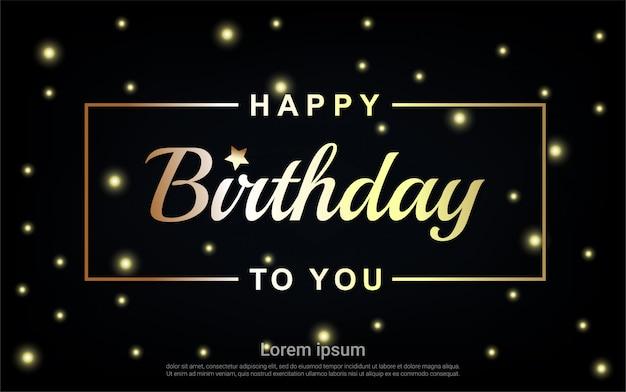 Carta de feliz aniversário ouro com estrela dourada e moldura de ouro
