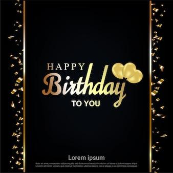 Carta de feliz aniversário ouro com fita e balões