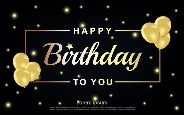 Carta de feliz aniversário ouro com moldura e balões