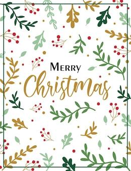 Carta de feliz natal com padrão de folha de azevinho
