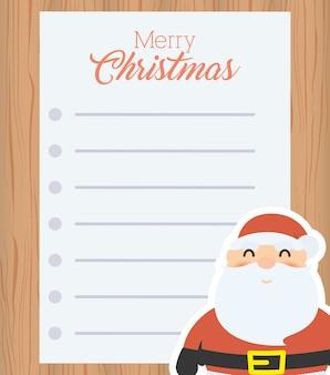 Carta de feliz natal com papai noel
