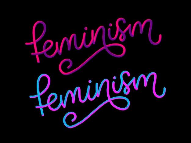 Carta de feminismo 3d design tipográfico.