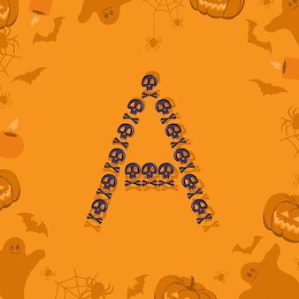 Carta de halloween a de caveiras e ossos cruzados para a fonte festiva de design para feriado e festa em orang ...