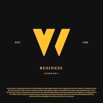 Carta de iniciais de monograma de luxo vintage vw ícone de carta de inspiração de design de logotipo de luxo premium vw