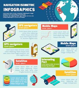 Carta de layout isométrico de infográfico de navegação