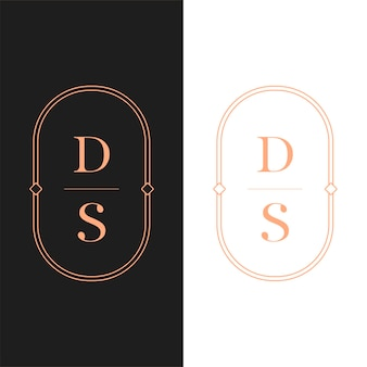 Carta de logotipo de luxo. design de logotipo em estilo art déco para marcas de empresas de luxo. design de identidade premium. letra ds