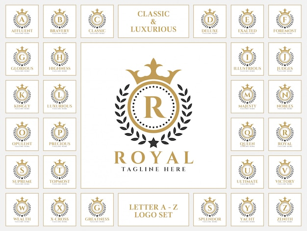 Carta de luxo logotipo definido com o estilo de ornamento clássico royal