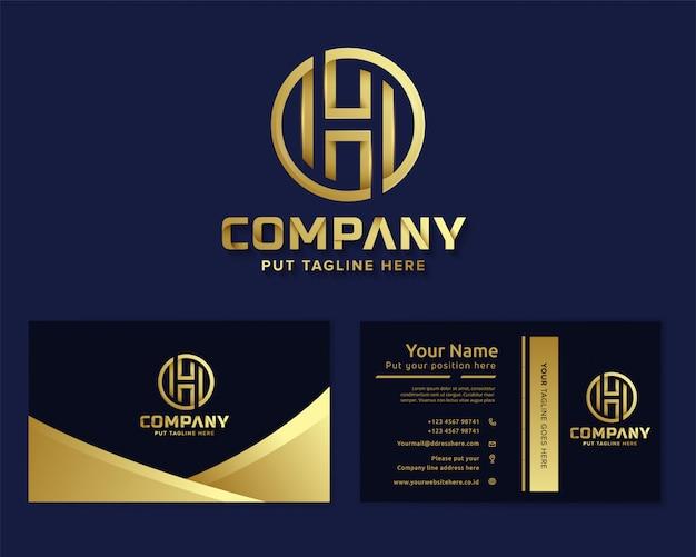 Carta de luxo premium inicial h logotipo modelo para empresa