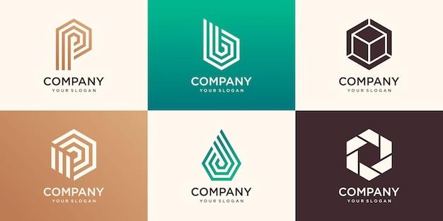 Carta de monograma e hexágono com modelo de design de logotipo de conceito de listra.