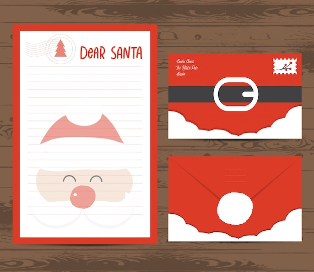 Carta de natal criativa e modelo de envelope
