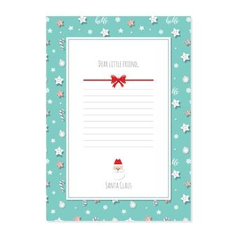 Carta de natal do modelo a4 de papai noel.
