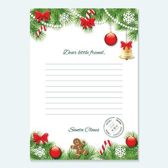 Carta de natal do modelo de papai noel.