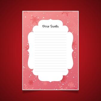 Carta de natal para o papai noel com flocos de neve