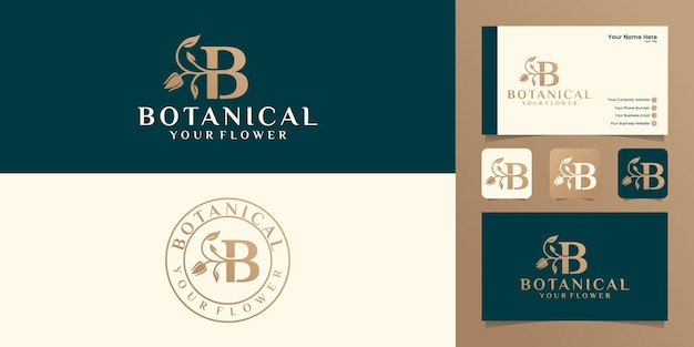 Carta de natureza botânica e modelo de logotipo de folha e cartão de visita