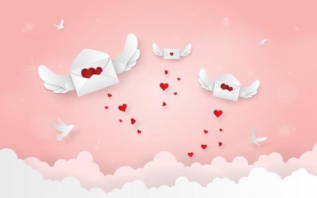 Carta de origami com asas voando no céu