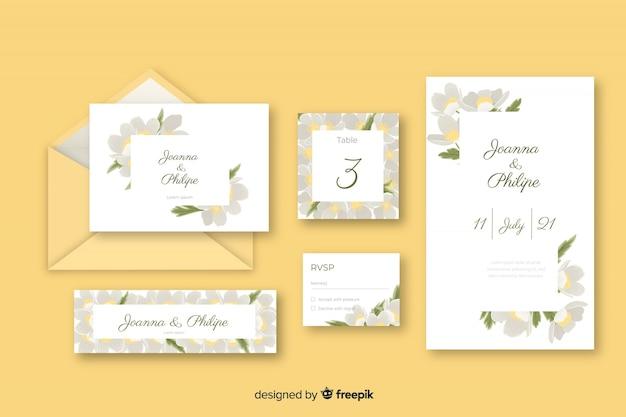 Carta de papelaria e envelope para casamento em tons de amarelo