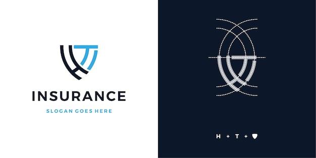 Carta de seguro de escudo h + t design de logotipo