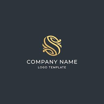 Carta de sinal de luxo s. com marca de folha. logo premium