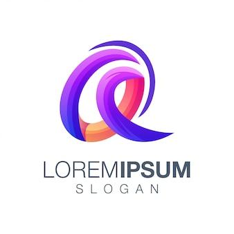 Carta de um design de logotipo de cor gradiente