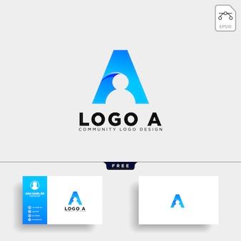 Carta de um ícone de vetor de modelo de logotipo humano isolado