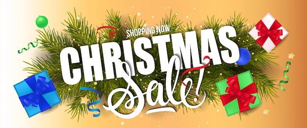 Carta de venda de natal e caixas de presente