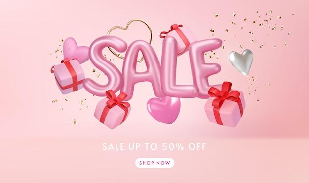 Carta de venda rosa brilhante com caixas de presente mínimas