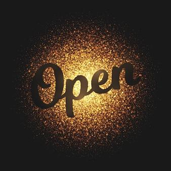 Carta de vetor de partículas de ouro aberto