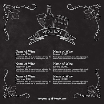 Carta de vinhos esboça no quadro-negro